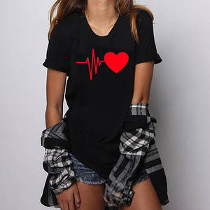 Aesthetic T-Shirt Women Clothes Top-Tops O-Neck Heart-Print Short-Sleeved Fashion Loose