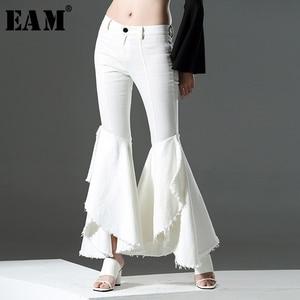 [EAM] High Waist White Denim Customized Ruffles Flare Trousers New Loose Fit Pants Women Fashion Tide Spring Autumn 2020 AZ211