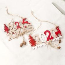 Рождественская деревянная подвеска с буквенной пеньковой веревкой, новогодняя Рождественская деревянная декоративная подвеска для дома