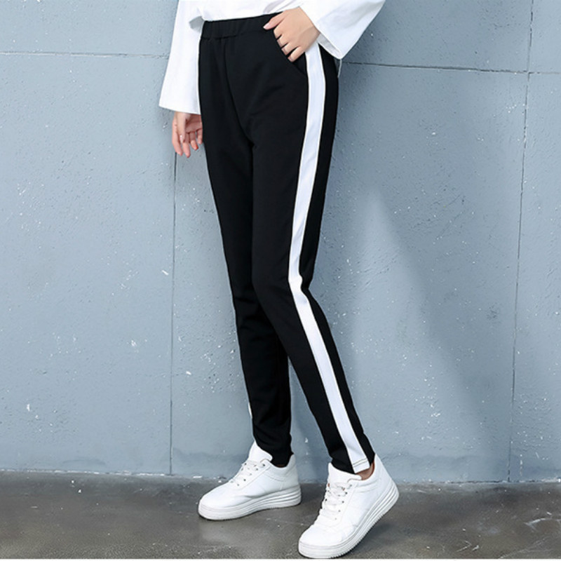 New Women Striped Sweatpants Joggers Sports Pant Women's Trousers Drawstring  Panelled Casual Black Pants Casual  Harem Pants