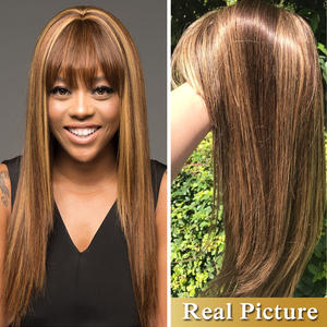 Dorisy Wig Bangs Human-Hair Colored Straight Women Brazilian Black with for Non-Remy
