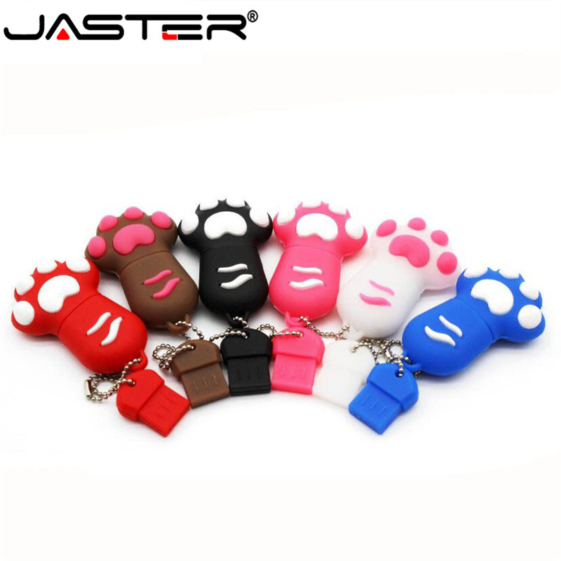 JASTER USB 2.0 Cute Cartoon Cat Claws 6 Styles Silicone Flash Drive Pendrive 4gb 8gb 16gb 32gb 128G Clef Memoria Sticks