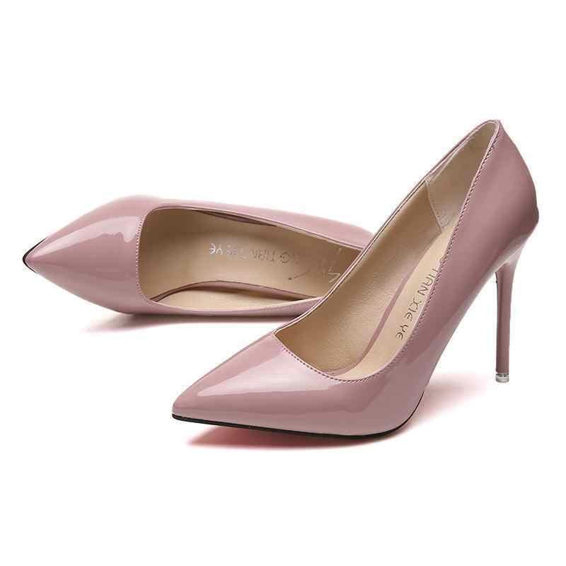 2019 חם נשים נעלי הבוהן מחודדת משאבות פטנט עור שמלה גבוהה עקבים סירת נעלי חתונה נעלי Zapatos Mujer כחול לבן