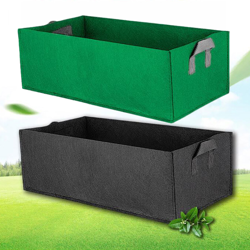 black Fabric plant Grow Bag Garden Square gardening tools Flower Vegetable seeds Planting Planter Pot Handles for hydroponics(China)