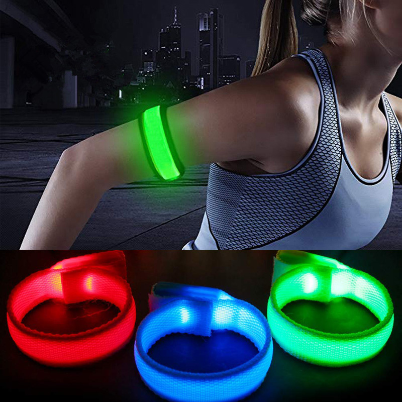 Outdoor LED Glowing Bracelets Sport Flashing Wristbands Adjustable  Wrist Strap For Runners Joggers Cyclists Bike Warnning Light