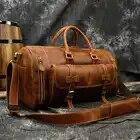 Bolsos de viaje de cuero genuino para hombres, bolso de mano con bolsillo para zapatos, bolsas de lona para exteriores de gran capacidad para hombre con correa de hombro