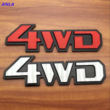 1pcs Aluminum Stick On Polished Chrome 4WD 4X4 Fender Car Decal Emblem Trim Badge Logo 3D Metal Sticker For Truck Auto Styling new 3d chrome metal silver 5 7l sticker for vw gt cs v8 engine emblem decal badge decoration nameplate fender car styling