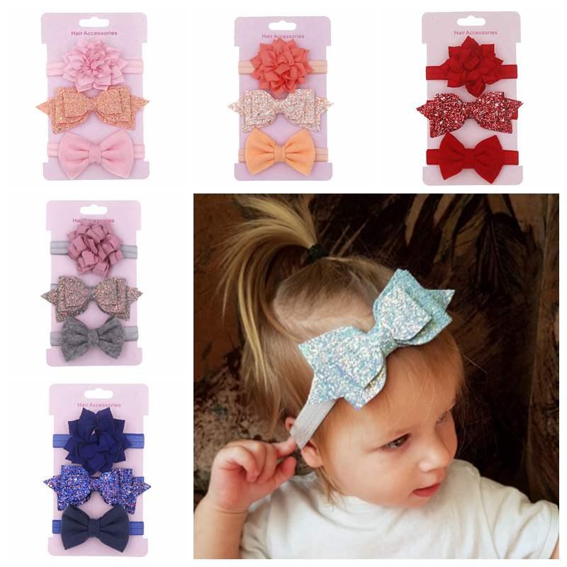 3Pcs Baby Headband Girl Lovely Headwear Stretchy Head Hoop Bow Hair Accessory