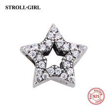 2017 Spring Vintage Clear CZ Star Charm fits Pandora DIY Bracelets & Necklace Original 925 Sterling Silver Alphabet Charms Beads