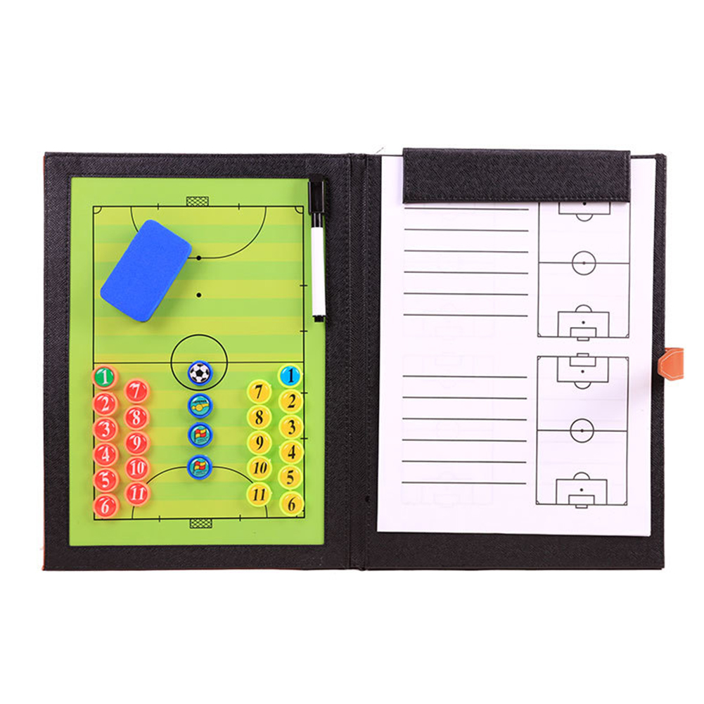 Coaching Training Soft Portable Magnetic Clipboard PU Leather Waterproof Football Tactic Board Foldable With Pen Tool Soccer