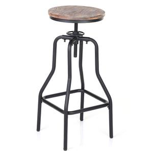 iKayaa Bar Stool Industrial Style Furniture Bar Chair Swivel Bar Stool Natural Pinewood Top Kitchen Dining Breakfast Chair