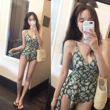 2019 Floral Print And One-piece Swimsuit  and Belt High Cut Trikini Leaf Bathing Suit Pad Swim Suits