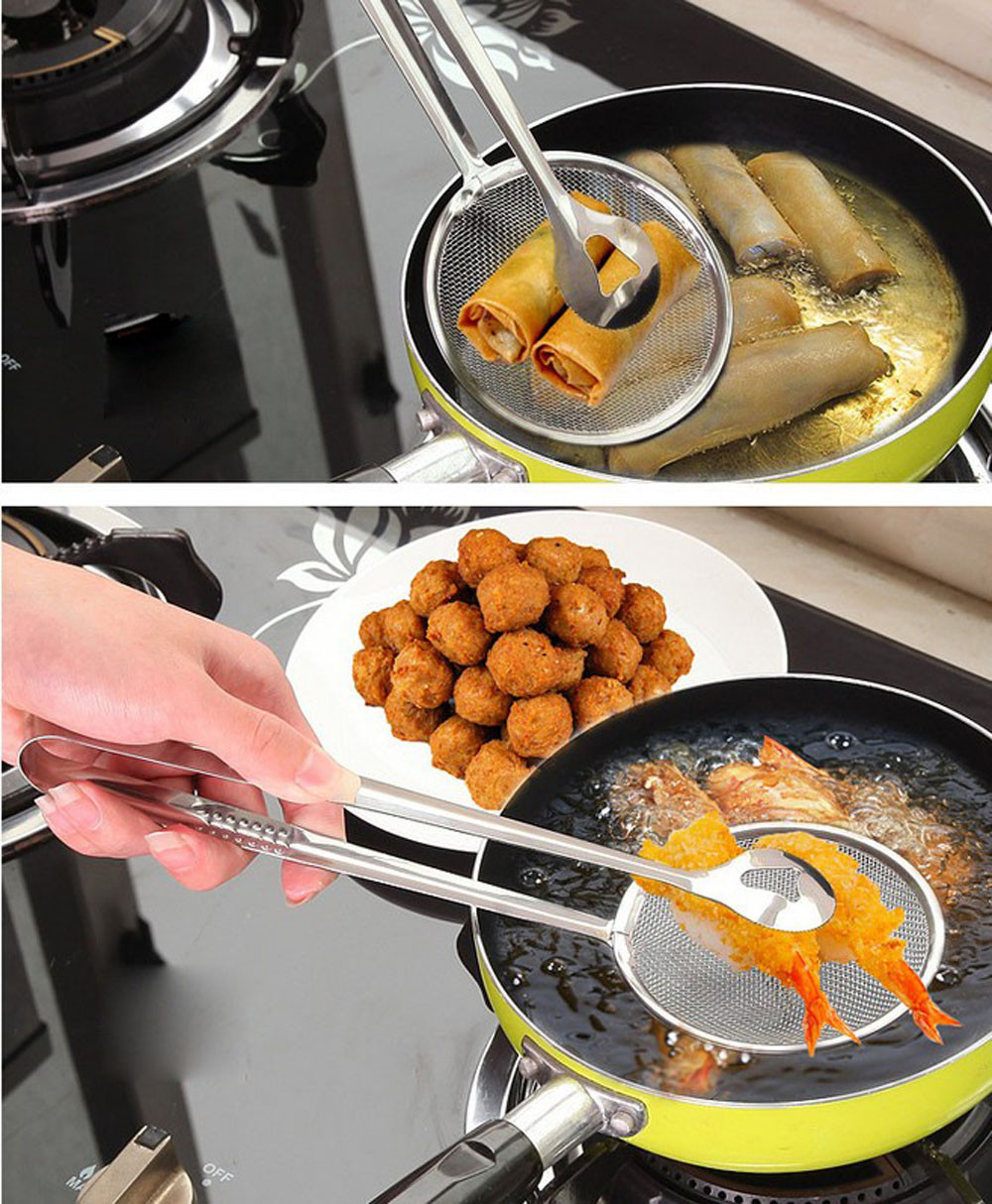 New Multi-functional Stainless Steel Clamp Strainer Filter Spoon With Clip Food Oil-Frying Salad BBQ Filter Kitchen Supplies