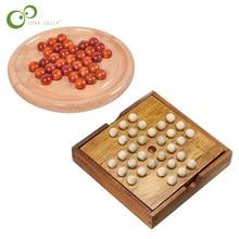 14cm clásico Peg Solitaire Solo Noble Puzzle rompecabezas IQ mente rompecabezas juego de madera juguetes para los niños y adultos ZXH