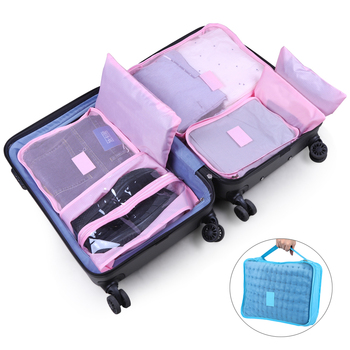 7PCS Travel Clothes Storage Waterproof Bags Luggage Solid Portable Organizer Pouch Packing Cube Bag Shoes Case Suitcase