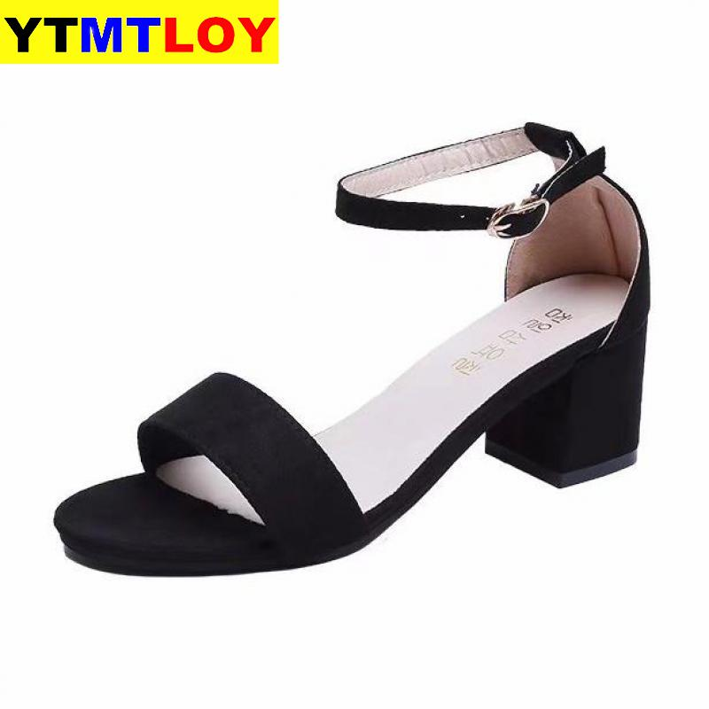 Summer Open Toe Shoes Women's Sandles Square Heel Shoes Korean Style Gladiator High Heels Sandals Women Ankle Strap Black Pink