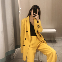yellow pant suits for women Loose Office lady suit