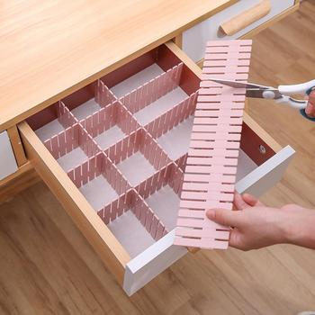 Adjustable Plastic Drawer Divider DIY Storage Shelves Household Free Combination Partition Board Space-saving Division Tools image