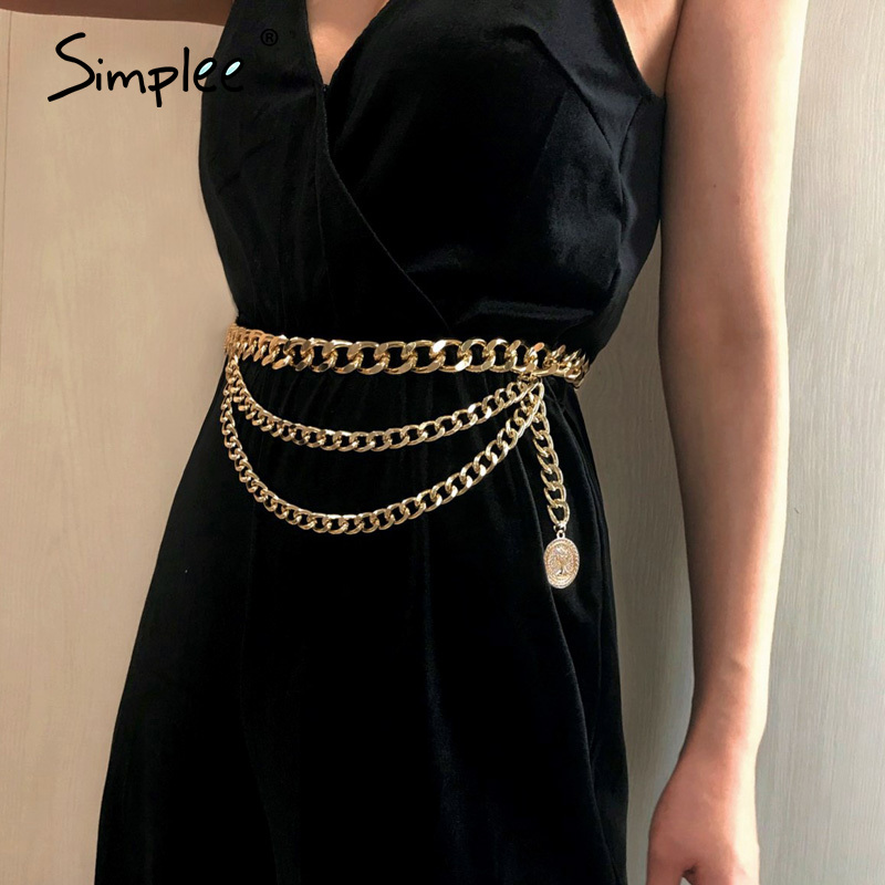 Simplee Retro Fashion Chain Belt Women All-match Multilayer Long Tassel Waistbands Party Jewelry Dress Waist Ladies Chain Belt