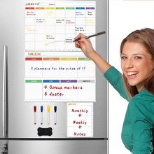 Magnetic Dry Erase Monthly Calendar Set-Magnetic White Board Weekly Planner & Grocery List Organizer for Kitchen Refrigerator