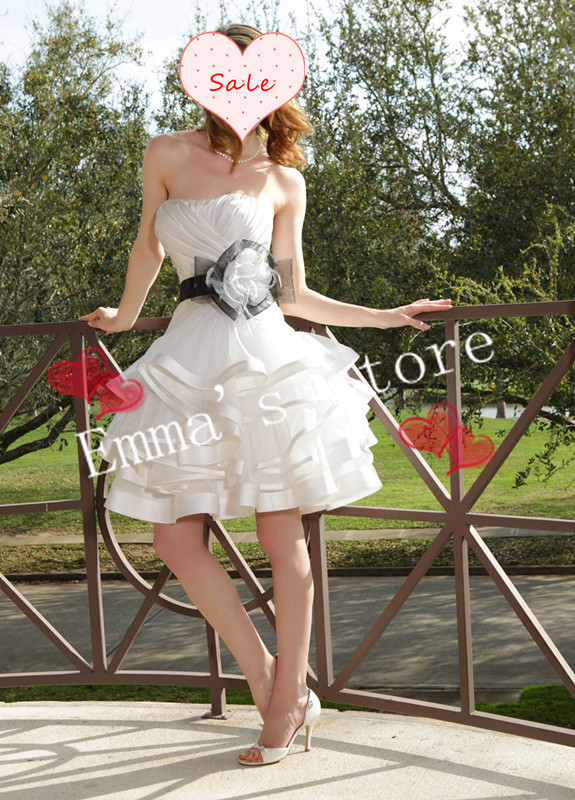 Free Shipping Fashion 2018 New Ball Emma A-Line Strapless Knee Length Flower Bow Satin Mini Tiered Formal Wedding Dresses Gown