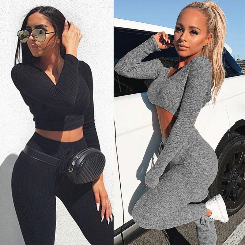 <font><b>Sexy</b></font> V Neck Knitted Tracksuit Two Piece Set Autumn Winter Long Sleeves <font><b>Crop</b></font> <font><b>Tops</b></font> And Long Tight Pants 2 Piece <font><b>Outfits</b></font> For <font><b>Women</b></font> image