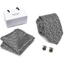 2019 Vangise 42 Colorsg grey  Paisley 100% Silk Ties For Men Gifts Wedding Necktie Gravata Handkerchief Set Business Groom