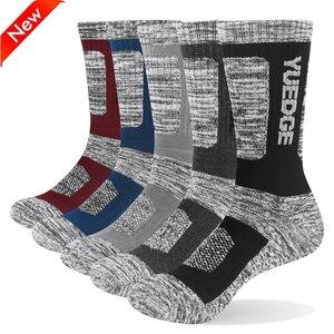 Image 1 - YUEDGE мужские носки дышащие комфортные хлопковые подушки, спортивные походные носки 5 пар 38 45 EU