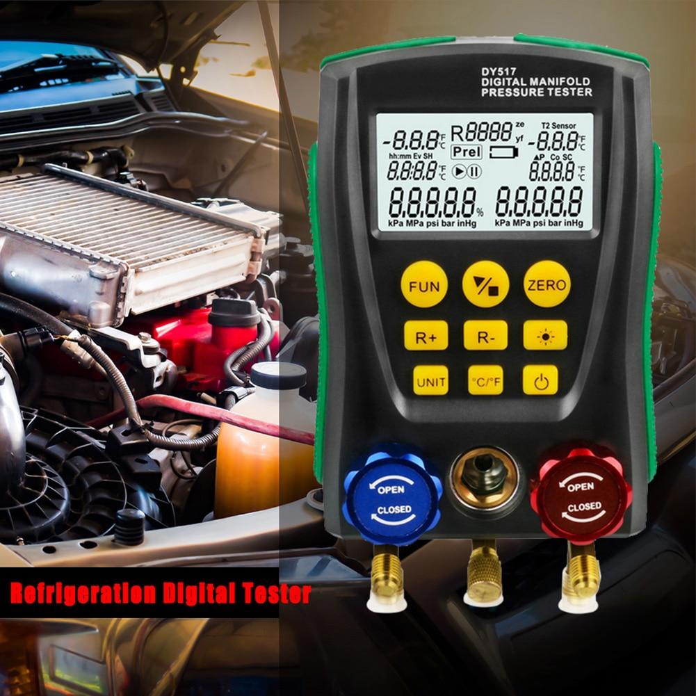 Tools : Digital Manifold Gauge Pressure Gauge Refrigeration Vacuum Pressure Manifold Tester Leakage Monitor Detector Refrigerant Meter