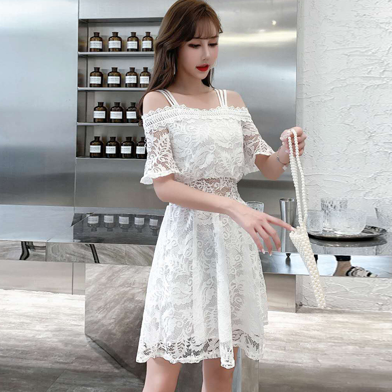 2020 summer low-cut V-neck sexy word shoulder strap lace women's strapless nightclub dress Sleeveless  Lace  Office Lady