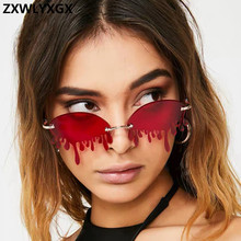Hot sale Fashion Water drop Sunglasses Women Rimless Wave Pu