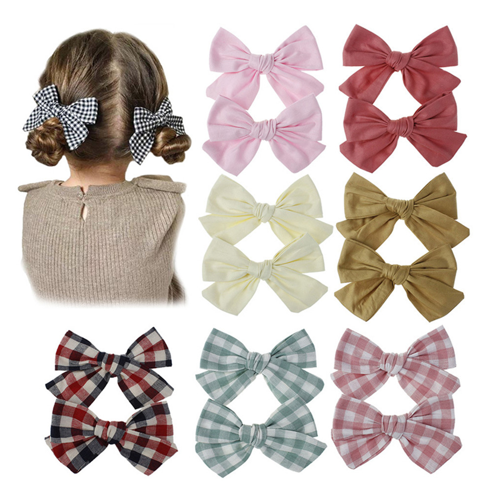 Ruoshui Kids Hair Bow Hairpins Bowknot Girls Cute Hair Accessories Solid Hair Clips Plaid Barrettes Hairgrip Headwear Ornaments