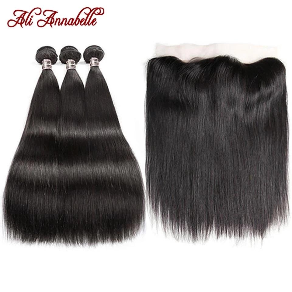Ali annabelle pacotes com frontal transparente laço em linha reta do cabelo humano pacote com 13x4 hd frontal cabelo brasileiro tecer pacotes