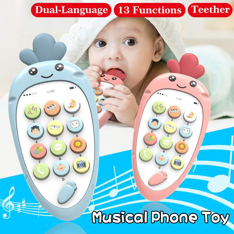Cute Simulation Carrot Musical Mobile Phone Toys With Teether  Early Educational Learning Toy Electronic Toy Gift For Baby Kids