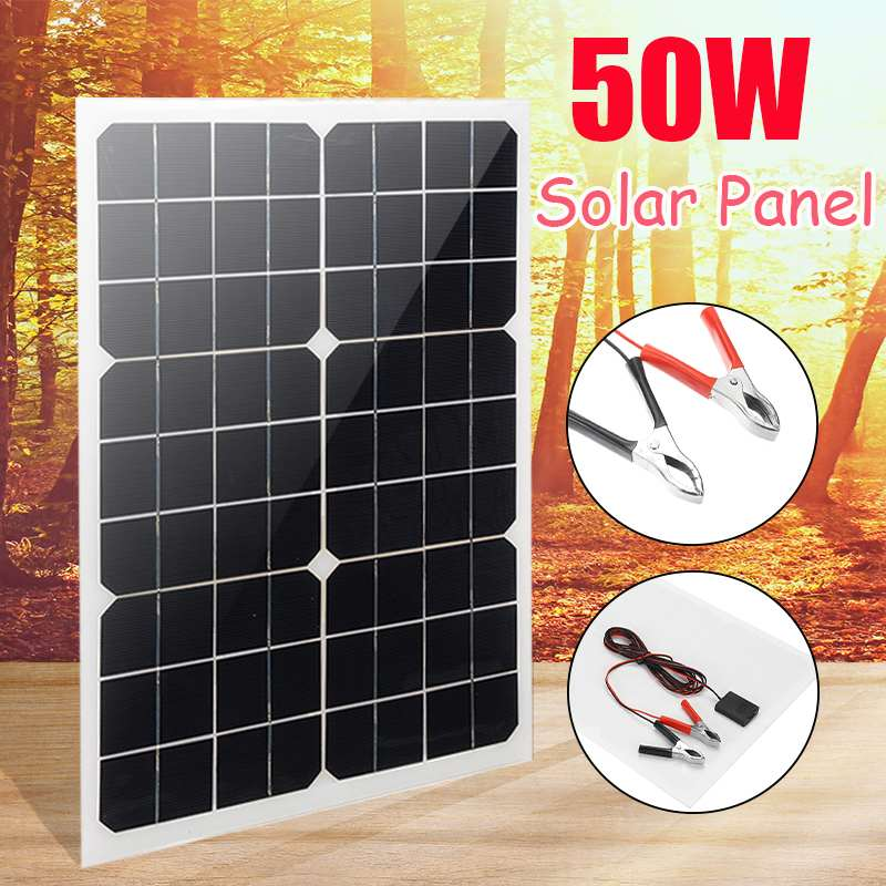 50W Portable Solar Panel 18V Battery Charger Solar Cell Board Crocodile Clips Car Charger For Phone RV Car Boat Yacht Outdoor
