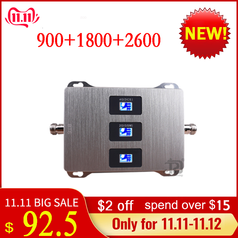 Gsm Amplifier 900/1800/2600 Gsm Dcs Lte Mobile Signal Booster 900/1800/2600 MHz Lte 4G Cell Phone Signal Repeater