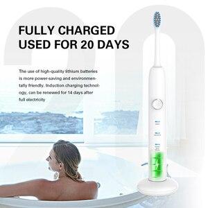Image 5 - AZDENT cepillo de dientes eléctrico recargable por USB, inducción, 3 modos, ULTRASÓNICO, 3 cabezales reemplazables DuPont, resistente al agua