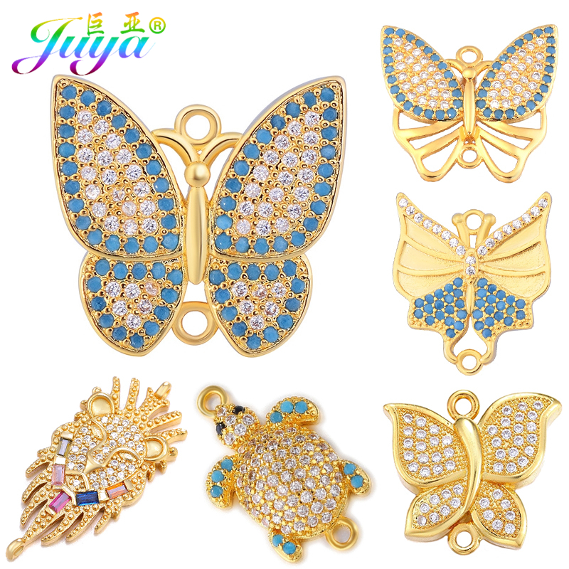 Juya Handicraft Accessories Supplies DIY Gold/Silver/Rose Gold Butterfly Charm Connectors For Fashion Earring Bracelets Making