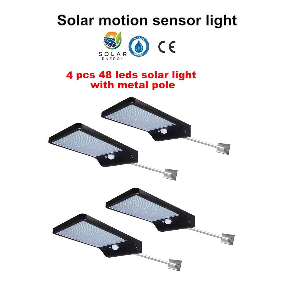 2/4pcs 48 Leds Street Lights Solar Outdoor Garden Lamp PIR Motion Sensor Wall Lamps Waterproof Patio Yard Path Night Lighting Se