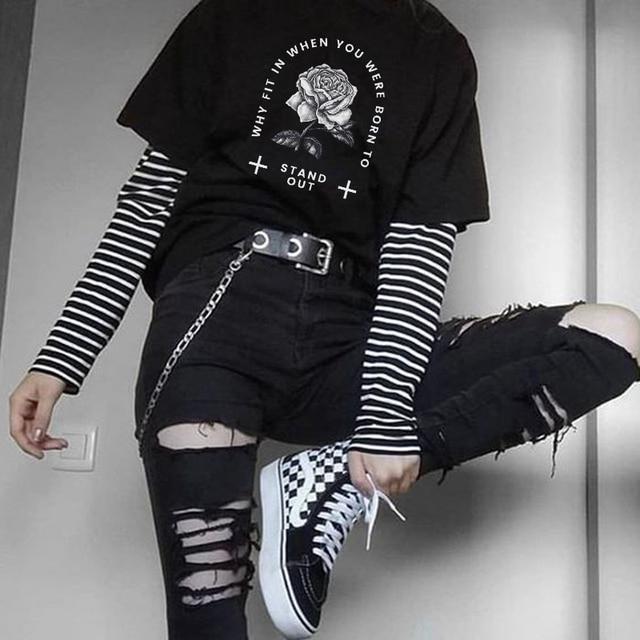 Gothic Vintage cartoon black print big size tops hip hop Harajuku letter summer fashion women punk short sleeve casual T-shirt