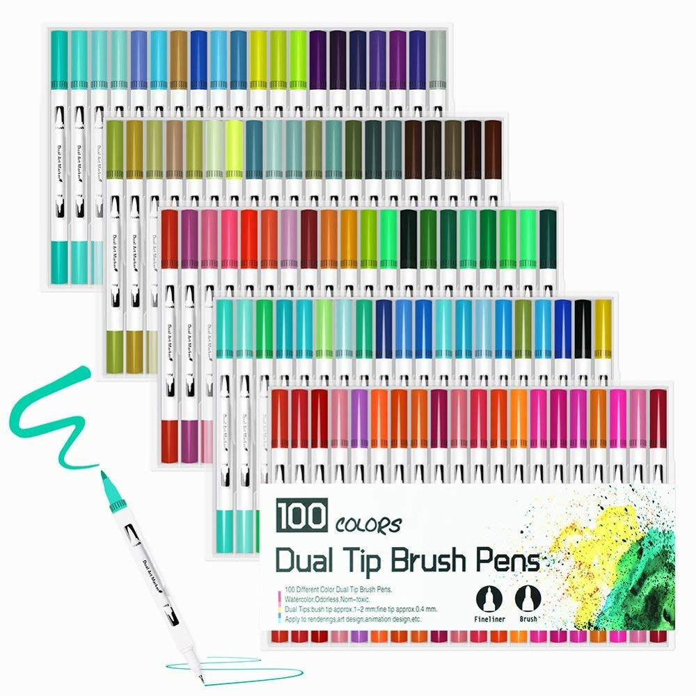 Brush-Pen Markers Watercolors Professional Back-School 100-120-Colors 60 72 48 Set 12-24-36