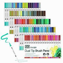 Aquarelles pinceau stylo Art marqueurs croquis stylo dessin brosse ensemble 12 24 36 48 60 72 100 120 couleurs marqueurs professionnels retour à lécole
