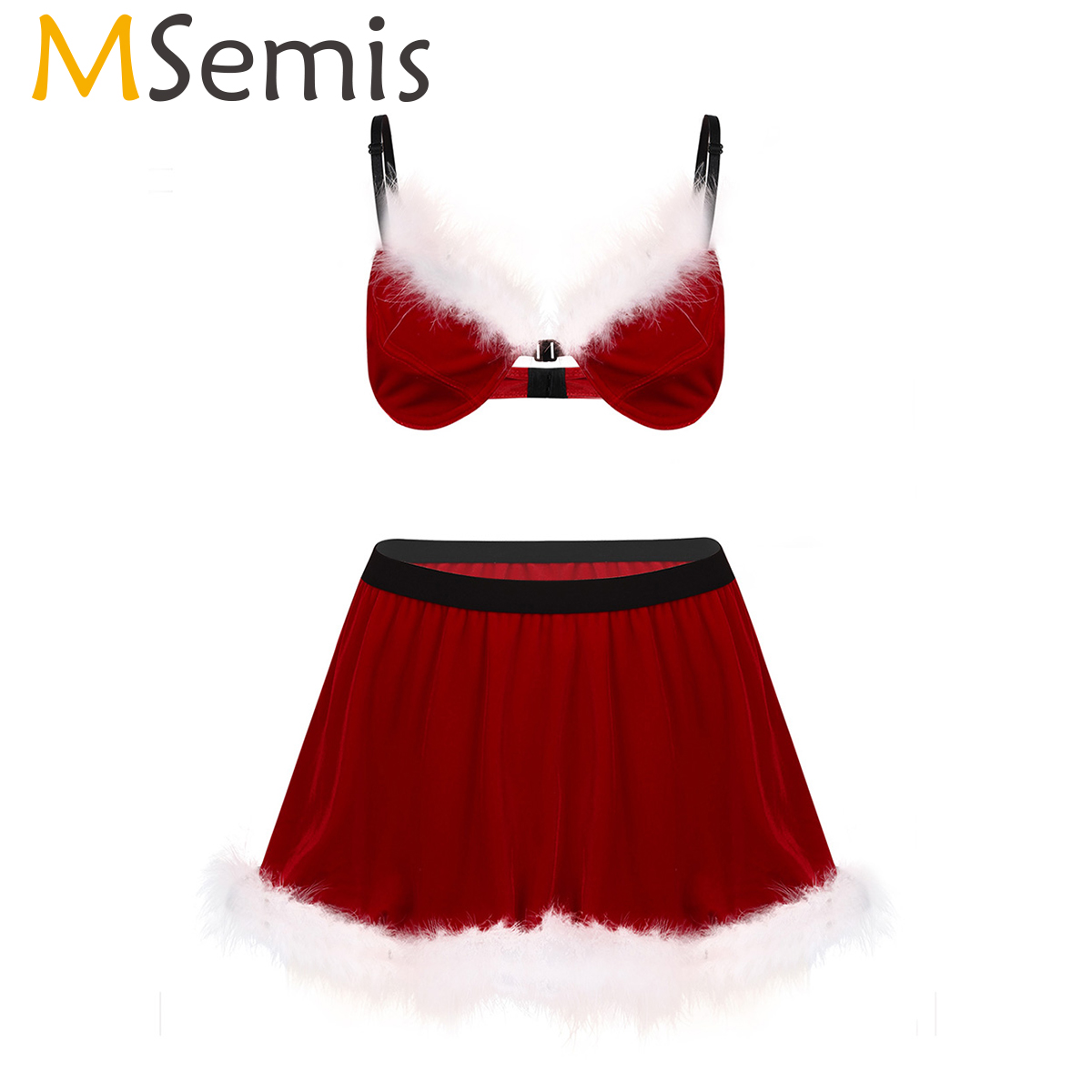 MSemis Men <font><b>Halloween</b></font> Cosplay Sissy <font><b>Sexy</b></font> Santa Christmas <font><b>Lingerie</b></font> Set Exotic Apparel Soft Velvet Feathered Bra with Mini Skirt image