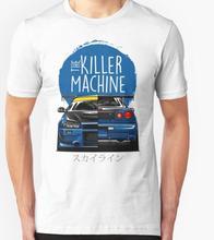 New Men T shirt Fashion Niss Skyline GTR R34 BNR34 Car Logo JDM T-shirt Custom Print