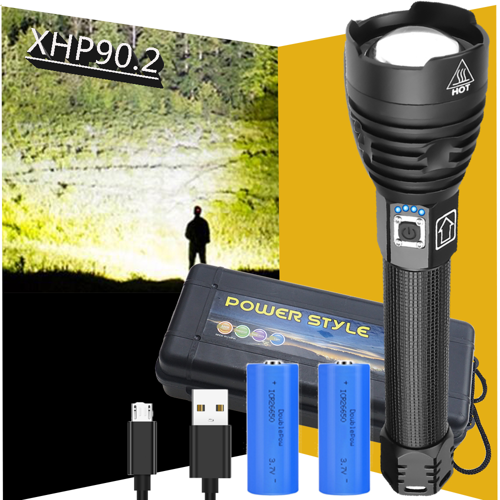 XHP90 2 Ultra Bright Led Flashlight Waterproof Torch Usb xhp50 Rechargeable tactical Flash Light 18650 or 26650 Hand Lamp xhp70