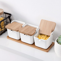 Seasoning Rack Spice Pots Bowls with Spoon and Porcelain Box and Bamboo Cover Storage Container Condiment Jars Of 4 Set
