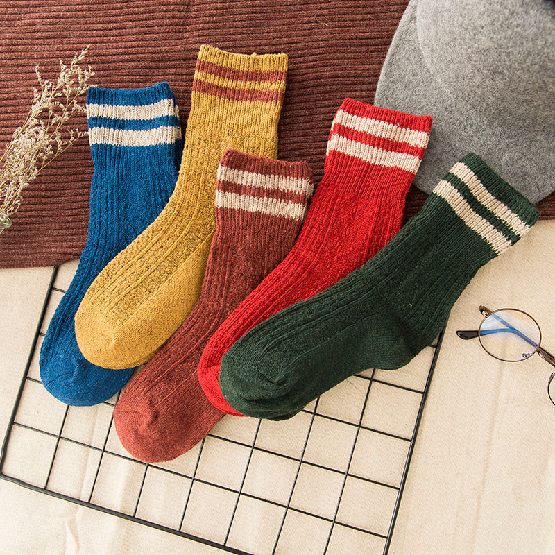 Winter Socks High Fashion Wool Thickening Warm Socks Women Pure Soild Striped Color Thermal Sock Ultra Thick Female Meias Socks