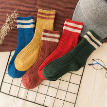 Winter Socks High Fashion Wool Thickening Warm Women Pure Soild Striped Color Thermal Sock Ultra Thick Female Meias