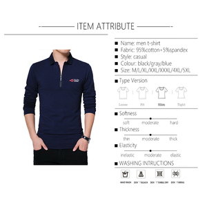 Image 4 - BROWON Herbst Marke T Shirt Männer Lange Sleeve Zipper Kragen Print Lässige T shirt Baumwolle Slim Fit T shirt Plus Größe Männer kleidung