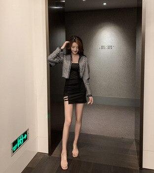 Short Loose Coat Woman 2019 Temperament Black White Color Design Feel Sleeve Short Jacket 6